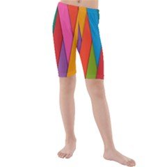 Colorful Lines Pattern Kids  Mid Length Swim Shorts