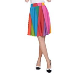 Colorful Lines Pattern A-Line Skirt