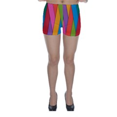 Colorful Lines Pattern Skinny Shorts