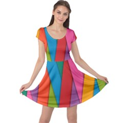 Colorful Lines Pattern Cap Sleeve Dresses