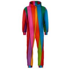 Colorful Lines Pattern Hooded Jumpsuit (men)