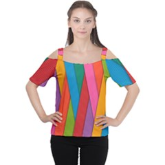 Colorful Lines Pattern Women s Cutout Shoulder Tee