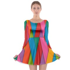 Colorful Lines Pattern Long Sleeve Skater Dress