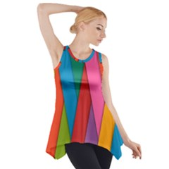 Colorful Lines Pattern Side Drop Tank Tunic