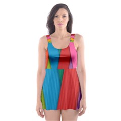Colorful Lines Pattern Skater Dress Swimsuit