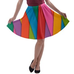Colorful Lines Pattern A-line Skater Skirt