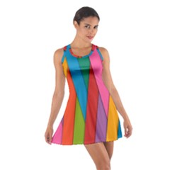 Colorful Lines Pattern Cotton Racerback Dress