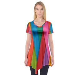 Colorful Lines Pattern Short Sleeve Tunic