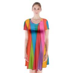 Colorful Lines Pattern Short Sleeve V Neck Flare Dress