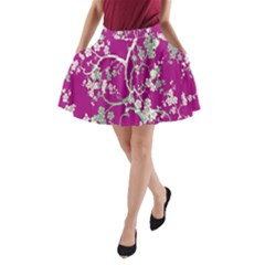 Floral Pattern Background A Line Pocket Skirt