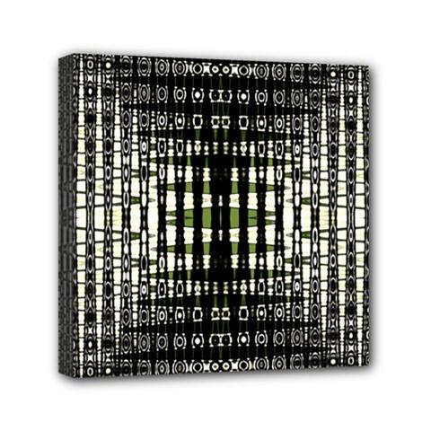 Interwoven Grid Pattern In Green Mini Canvas 6  X 6