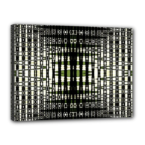 Interwoven Grid Pattern In Green Canvas 16  x 12