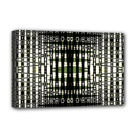 Interwoven Grid Pattern In Green Deluxe Canvas 18  x 12