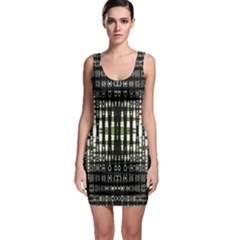 Interwoven Grid Pattern In Green Sleeveless Bodycon Dress
