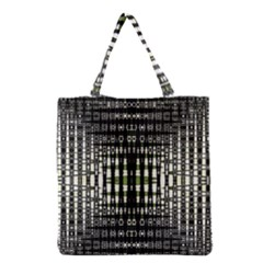 Interwoven Grid Pattern In Green Grocery Tote Bag