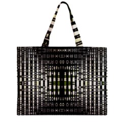 Interwoven Grid Pattern In Green Zipper Mini Tote Bag