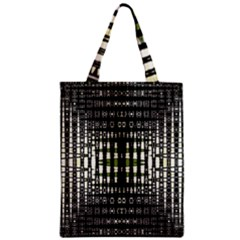 Interwoven Grid Pattern In Green Zipper Classic Tote Bag