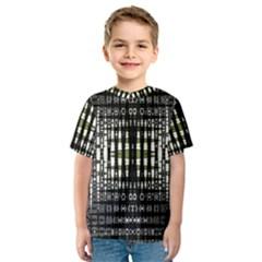 Interwoven Grid Pattern In Green Kids  Sport Mesh Tee
