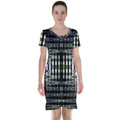 Interwoven Grid Pattern In Green Short Sleeve Nightdress
