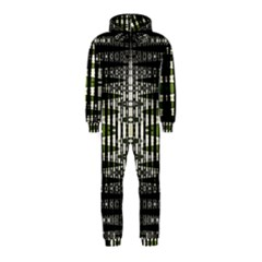 Interwoven Grid Pattern In Green Hooded Jumpsuit (Kids)