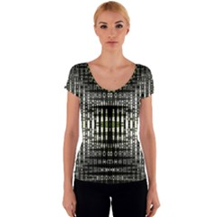 Interwoven Grid Pattern In Green Women s V-Neck Cap Sleeve Top