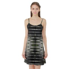 Interwoven Grid Pattern In Green Satin Night Slip