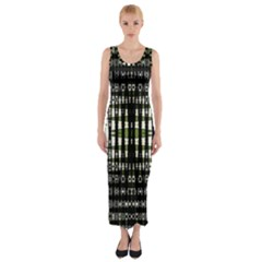 Interwoven Grid Pattern In Green Fitted Maxi Dress