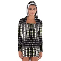 Interwoven Grid Pattern In Green Women s Long Sleeve Hooded T-shirt