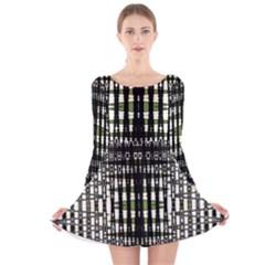 Interwoven Grid Pattern In Green Long Sleeve Velvet Skater Dress