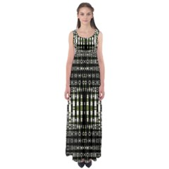 Interwoven Grid Pattern In Green Empire Waist Maxi Dress
