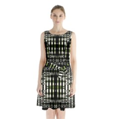 Interwoven Grid Pattern In Green Sleeveless Chiffon Waist Tie Dress