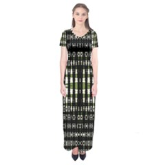 Interwoven Grid Pattern In Green Short Sleeve Maxi Dress
