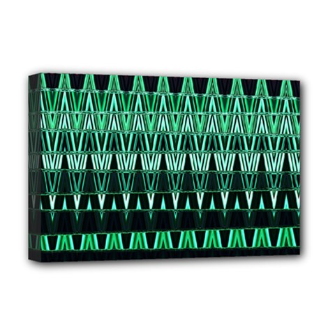 Green Triangle Patterns Deluxe Canvas 18  x 12