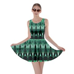 Green Triangle Patterns Skater Dress