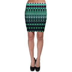 Green Triangle Patterns Bodycon Skirt