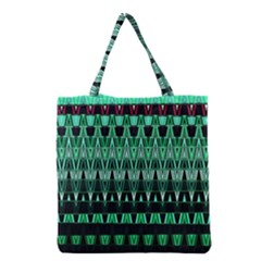 Green Triangle Patterns Grocery Tote Bag