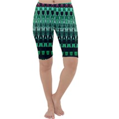 Green Triangle Patterns Cropped Leggings