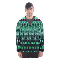 Green Triangle Patterns Hooded Wind Breaker (Men)
