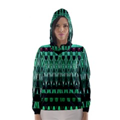 Green Triangle Patterns Hooded Wind Breaker (women)