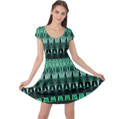 Green Triangle Patterns Cap Sleeve Dresses
