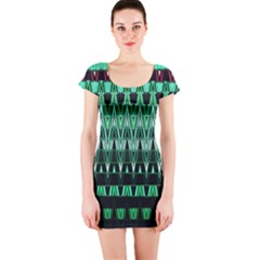 Green Triangle Patterns Short Sleeve Bodycon Dress