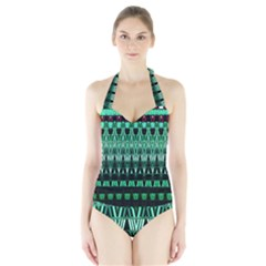 Green Triangle Patterns Halter Swimsuit