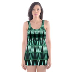 Green Triangle Patterns Skater Dress Swimsuit