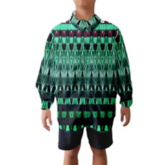 Green Triangle Patterns Wind Breaker (kids)