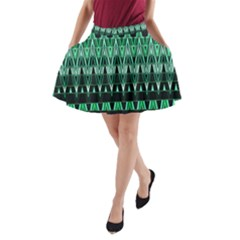 Green Triangle Patterns A-Line Pocket Skirt