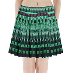 Green Triangle Patterns Pleated Mini Skirt
