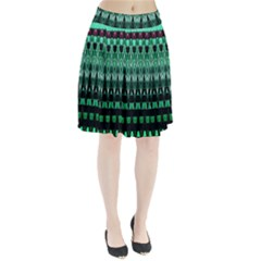 Green Triangle Patterns Pleated Skirt