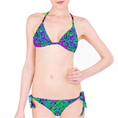 Green Purple Pink Background Bikini Set