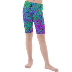 Green Purple Pink Background Kids  Mid Length Swim Shorts