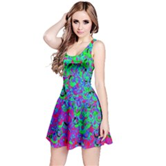 Green Purple Pink Background Reversible Sleeveless Dress